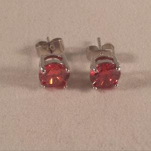 18k WGF Red Ruby Topaz Zircon Earrings 1.28tcw